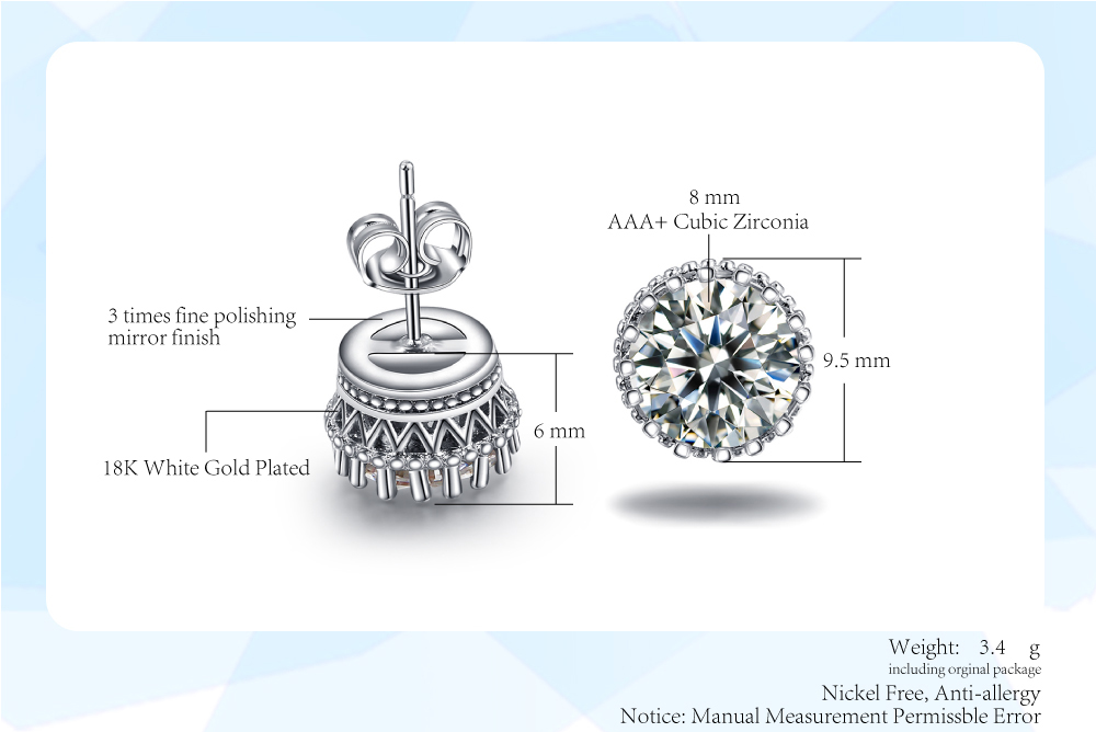 Classic Princess Crown Cubic Zirconia Stud Earrings