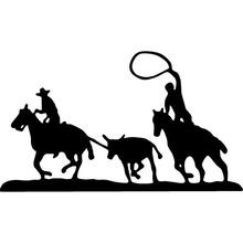 18.8cm*10.9cm Team Calf Roping Rodeo Horse Mustang Lasso Cowboy Interesting Vinyl Decal Car Sticker Black/Silver S6-2776
