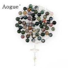 8mm Religious Catholic Gem Inside Natural Stone Round Prayer Beads Bless Rosary Necklace Silver Cross