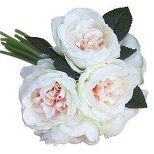 Bridal Wedding Fake Flower Bouquet Artificial Peony Flower Bride Bridesmaid Holding Flowers 6 Color(China)