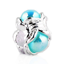 New Silver Plated Bead Charm Cute Flower With Multicolor Venetian Pearl Beads Fit Pandora Bracelet Bangle DIY Jewelry