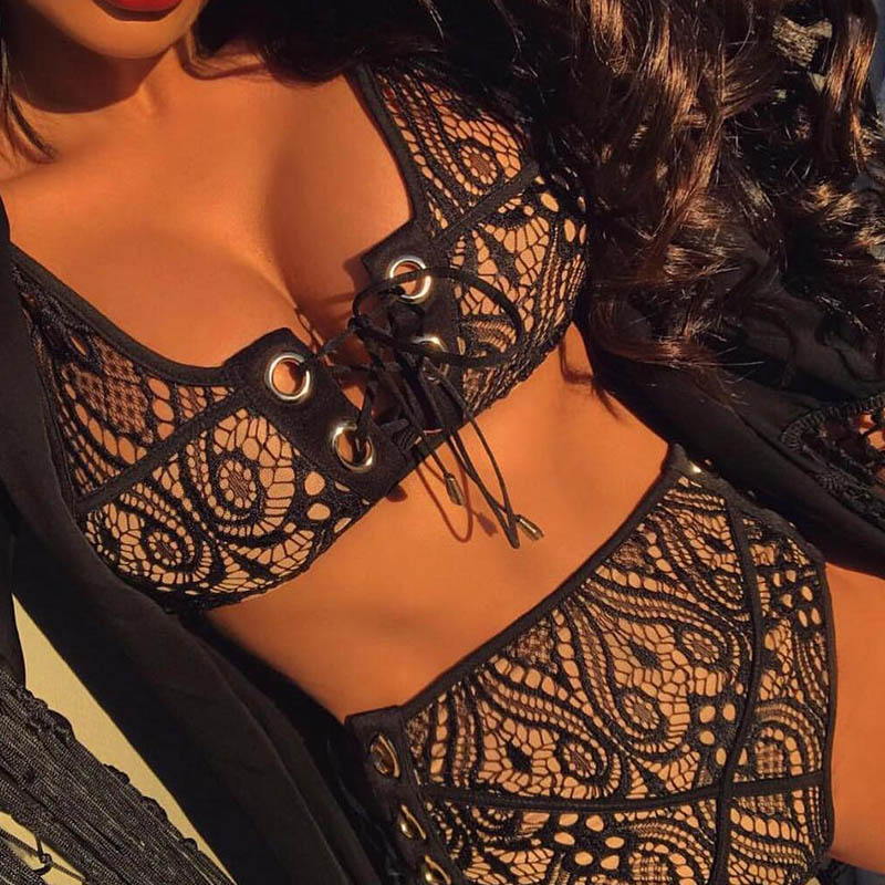 Lace High Waist Swimsuit, 2 Piece Set, 2019 Sexy Solid Women's Push Up Swimwear 6
