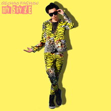 Korea Slim Casual Leopard Zebra Printed Suits Fashion Male Boy Singer Performance Jacket Trousers Male Nightclub Costume Set