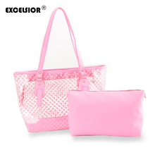 EXCELSIOR Waterproof Summer Beach Handbags Transparent Candy Women's Hand Bag Set Fashion Shoulder Shopping Tote Bags Bolsas