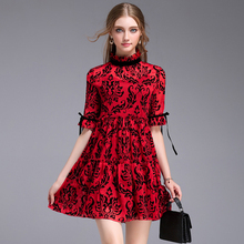 Beach Holiday Dresses Women 2017 Summer Topshop Short Lacing Sleeve Elegant Floral Print Fresh Pleated Fashion Red Sexy Dress