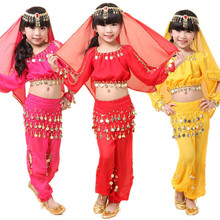 Child belly dance costume set kids dance clothes girl india performance wear 5pcs Long Sleeve Top&Pant&Belt&Headband&Bracelet(China)