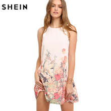 SHEIN Ladies Multicolor Sleeveless Flower Print Boho Dresses New Arrival Womens Summer Round Neck Cut Out Cute Shift Dress(China)