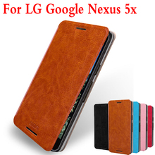 Original Mofi Flip Leather For Google Nexus 5X Case Cell Phone Case For LG Nexus 5X Stand Leather Case Cover For LG Nexus 5X(China)