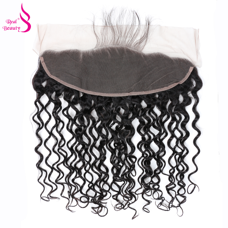[Real Beauty] 13×4 Water Wave Ear To Ear Closure With Baby Hair Remy Peruvian Human Hair Lace Frontal Free Shipping