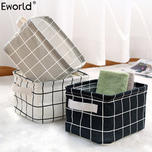Eworld Cute Printing Waterproof Desktop Storage Organizer Bag Cotton Linen Sundries Storage Box Cabinet Underwear Storage Basket