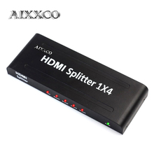 AIXXCO HDMI Splitter 1080P HD Hub Smart switch Box 1 Input 4 Outputs 3D Active Amplifier for HDTV PC Projector Box PS3 PS4 Xbox
