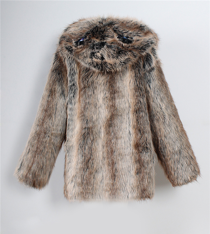 2017 autumn and winter new foreign trade popular animal ear hat imitation fur coat female wild long coat warm jacket8