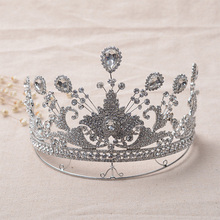 Women Tiaras Bling Baroque Wedding Hair Crown Silver Plated Fashion Jewelry Alloy Glass Hairwear Accessories 17*12cm 212g