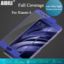 2.5D Full Cover 9H HD Clear Tempered Glass Screen Protector Silk Print Guard Film for Xiaomi Mi 6 mi6 six 5.15 inch Black Blue(China)