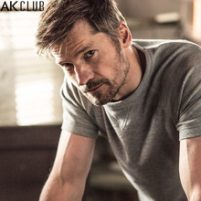 AK CLUB Men T-shirt Nikolaj Coster-Waldau Advertised Waffle Raglan Sleeve Tshirt Vintage Style O-Neck T Shirt Slim Fit 1600004