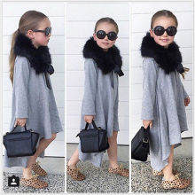 Fashion spring autumn Baby Girls dress Kid Swing Max Long Batwing Dress Loose Asymmetric Party Dresses children clothing