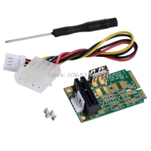 Mini PCI-E To PCI-E1x Board USB2.0 Adapter PCI Express Interface Card 4Pin Power -R179 Drop Shipping