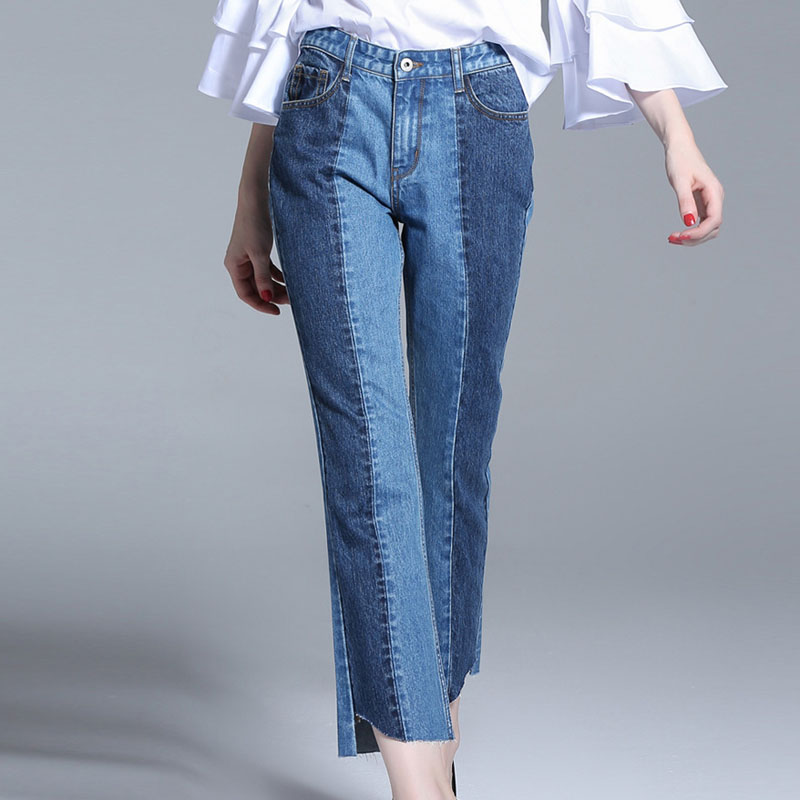 Women Jeans 2017 New Arrival Spring Fashion Color Block Flare Pants Plus Size High Waist Casual Ankle Length Denim TrousersОдежда и ак�е��уары<br><br><br>Aliexpress
