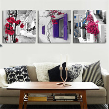3 Piece Canvas Wall Art Painting Street Window Flowers Home Decorative Art Picture Print Posters For Living Room No Framed