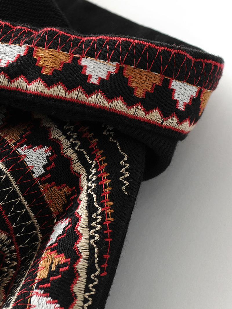 ShejoinSheenjoy Hooded Long Sleeve Loose Hoodies Women Fashion Black Vintage Floral Geometric Embroidery Sweatshirt Pullovers (14)