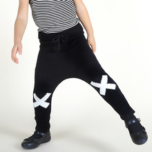 INS fork fork pants pattern line Boys and girls children baby wool pants of height