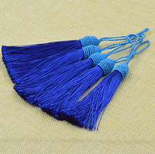top quality 12cm Colorful Tassel blue mixed Charms DIY Handmade Jewelry apparel bag Pendant Key buckle 50pcs/lot Free shipping