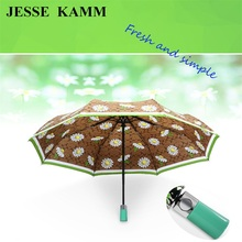 JESSE KAMM Fully Automatic Blue Red Umbrella For Women Strong Windproof Aluminum Fashion Pongee High Quality Compact Ladies