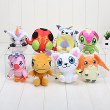 Digimon Plush Toys Gabumon Agumon Gomamon Piyomon Palmon Patamon Soft Plush Toy With Keychain Kids Toys