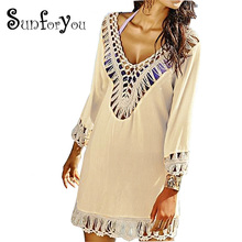 Crochet Beach Cover up Beach cape Saida de Praia Bathing suit cover ups Beach Wear Swimsuit Cover up Pareo Cover-up dress(China)