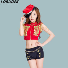 2017 new female costumes red black uniform Cheer leading Team jazz DS costume singer show nightclub bar stage wear performance(China)