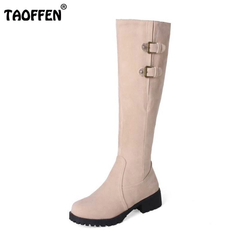 TAOFFEN Size 32-44 Women High Heel Boots Zipper Buckle Boots Warm Shoes For Cold Winter Boots Long Botas For Women Footwears<br>
