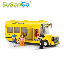 Assembled Building Blocks Mini School Bus toy Children Educational figures toys With PVC BOX