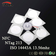 50pcs NFC TAG Sticker 13.56MHz ISO14443A NTAG 213 NFC Sticker Universal Lable RFID Tag(China)