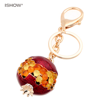 Gold Color Crystal inlaid Key chains for Women bag Car Fashion jewelry Red pomegranate statement Cute Keychains Gift for Girls(China)