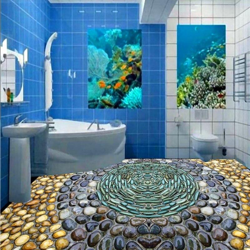 Free shipping thickened 3D cobblestone circular floor flooring moisture proof self-adhesive living room kids bedroom wallpaper<br><br>Aliexpress