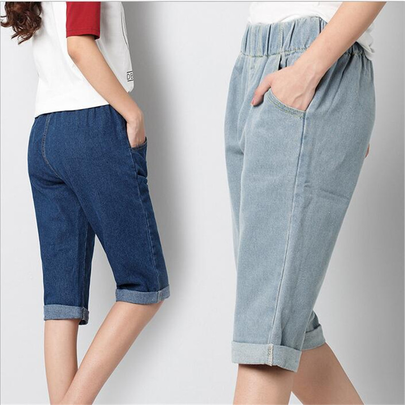 6EXTRA LARGE Summer European American Street Fashion Womens Jeans New Micro-Bomb Jeans Pocket Kenn Length Pants Plus Size JeansОдежда и ак�е��уары<br><br><br>Aliexpress