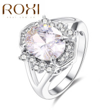 ROXI Fashion Rings White Gold Color Classic Sparkling Big Oval Cubic Zirconia Wedding Engagement Forever Ring For Women Jewelry