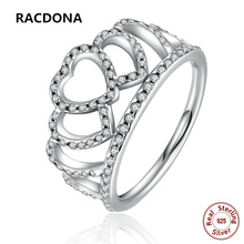 2017 New Luxury 100% 925 Sterling Silver Hearts Tiara crown Clear CZ For Women Finger Ring Compatible with pan Jewelry