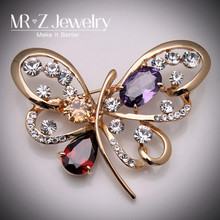 New Items Fashion Zircon Brooches Crystal Butterfly Brooch For Wedding Invitations Free Shipping