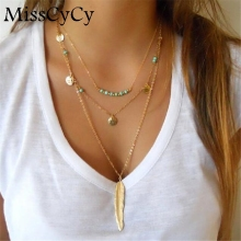 MissCyCy 2016 New Boho Simple Chain Gold Color Tassels Feather Pendant Multi Layer Necklace Fine Jewelry For Women