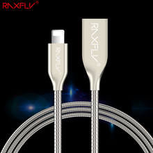 RAXFLY For iPhone 6 7 Phone Cable Zinc Alloy Fast Charger USB Cables For iPhone 6 6S 7 Plus 5 5S SE For iPad mini air iPod Cable