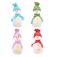 2017 New Christmas Apple Gift Bag For Home Christmas Tree Decoration Cute Snowman Design Red Blue Green Pink New Year Gift Bag(China)
