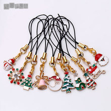 Metal Enamel Christmas Keychain & Phone Chain for Woman Diy Handmade Fashion Christmas Gift Girl 10pcs/lot C5200