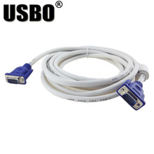 VGA factory direct white male to male 3 +4 VGA line high-definition computer projector monitor video cable with magnetic ring