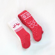 Autumn/Winter Cotton Baby Girl Tights Kids Stockings newborn boy girl tights New Year Christmas red pantyhose For Kid 0-4Years(China)