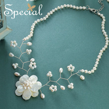 Special Natural Pearl Necklaces & Pendants Big Flower Sea Shell Maxi Necklace Romantic Wedding Jewelry Gifts for Women S1658N(China)