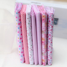 25*25CM  100% Cotton 7 Assorted Pink Pre Cut Charm  Squares Quilt Fabric
