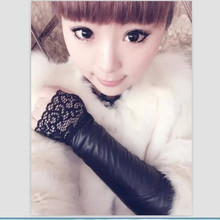 Women Sexy Black PU Arm Warmers Lace Gloves Long Arm Sleeves PU Leather Arm Cover Arm Cuff(China)