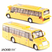 New 1/32 Metal Cars Toys 4 Open Door Music Light Pull Back USA School Bus Diecast Model Authentic Van Toys For Kids Gifts(China)
