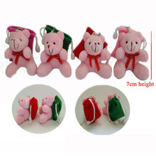 H=7cm Pink Mini Stuffed Teddy Bear Backbag Plush Toy pendants Bouquet doll Wedding Candy bag valentines gift Promotional items(China)